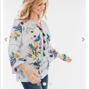 Chico's Embroidered Birds Tunic
